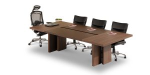 Alborz conference table, part of Alborz and Alvand executive family, offers a seal strip right in the middle of desk top for passing cable.