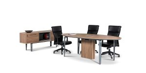 Capri oval conference table offers an electric hub with features including power outlet, network, microphone, USB and VGA socket. A negative slope at the edge of the table, with polyurethane coating, is the special feature of the product.