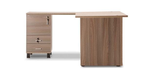 ال میز کارمندی بنفشه 8 دارای دو عدد کشوی کوچک برای لوازم شخصی است. این محصول قابلیت قرارگیری زونکن هم دارد.