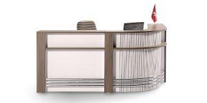 کانتر سرو 2 با میز پشت امکان تولید با طولهای متفاوت دارد. این محصول امکاناتی از قبیل پیشخوان پذیرش مشتری و درپوش عبور سیم نیز دارد.