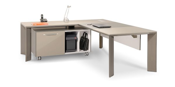 میز مدیریت لاوان آلفا دارای داگت عبور سیم بدون سوکت است. پایههای میز با استراکچری بسیار مستحکم و اتصالات قوی از پروفیلهای آلومینیوم اکسترود شده و دایکستهای ویژه میباشد که در دو رنگ دودی شامپاینی آنادایز میشود.
